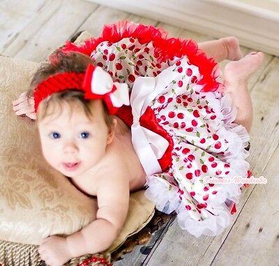 Xmas White Cherry Print Newborn Tutu Baby Girl Pettiskirt Skirt Dress Tutu 3-12M