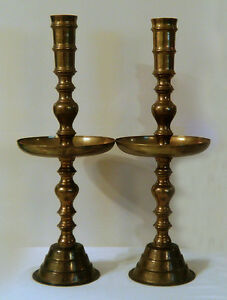 2 Large Vintage Brass Candlesticks Candle Holders Floor Fire Place Church Altar Ebay