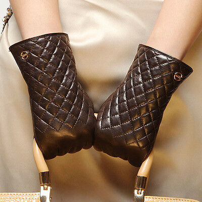 ELMA lady genuine Nappa leather winter CHECK Gloves w/ Gold Plated Logo