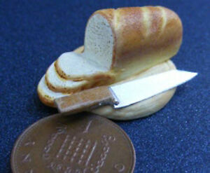 1-12-Scale-Ceramic-Bloomer-Bread-On-A-Board-Knife-Dolls-House-Miniature-Food-B