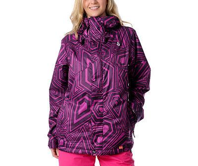 Volcom Ayers Insulated Jacket Womens Snowboard Ski 15k Waterproof L Purple $200