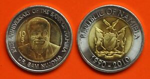 NAMIBIA-NEW-ISSUE-BIMETAL-10-UNC-COIN-2010-YEAR