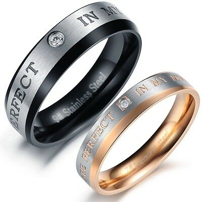 Pair Love Couple rings stainless steel wedding SET bands shine crystal gift 330