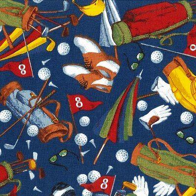 "1 yard ""Art of Golf"" Allover Fabric"