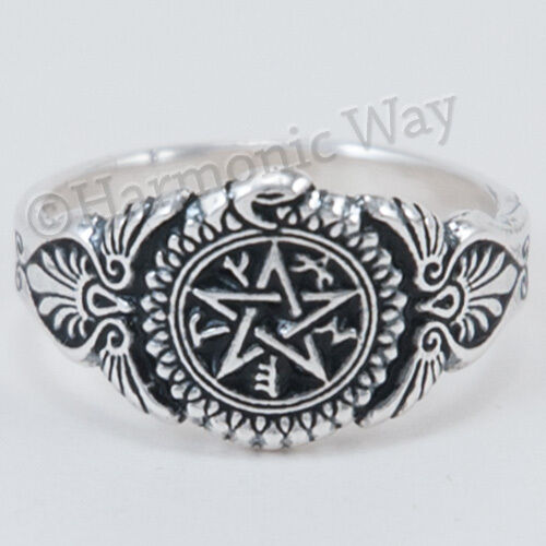 HEALER'S Ring Sterling Silver Pentacle Magical Healing Symbols Power 7 8 9 10 11