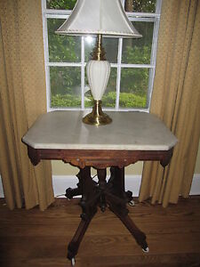 Victorian Eastlake Marble Top Table Burl Walnut