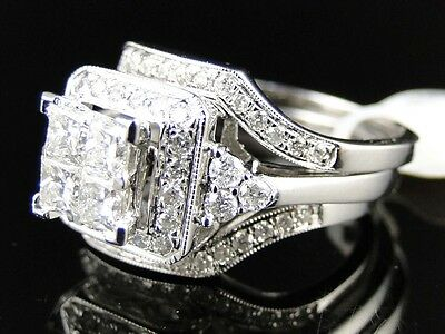 14K White Gold Ladies Princess Diamond 3 Piece Bridal Engagement Ring Set 1.5 Ct