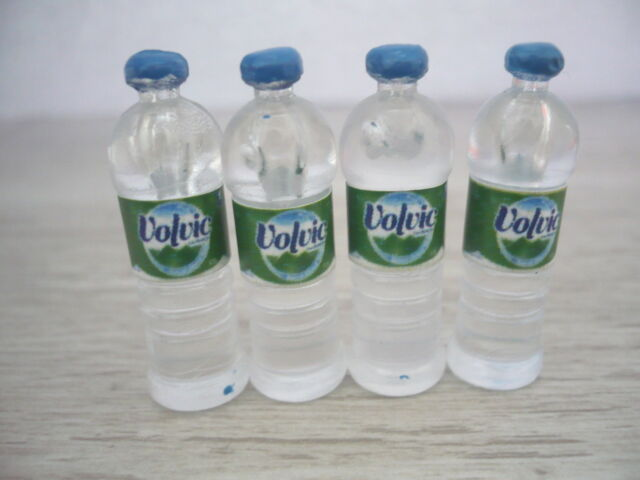 4 Bottles of Drinking Water with Volvic Dollhouse Miniatures Supply Deco
