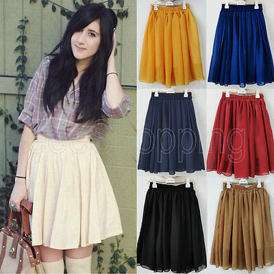 Hot Girl Retro High Waist Pleated Double Layer Pompon Short Dress Mini Skirt