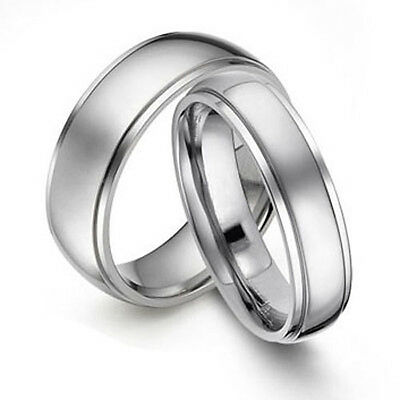 Grooved His & Her Titanium Ring Set Wedding Band Size 3-18