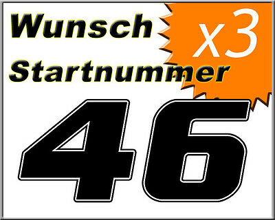 Motorrad Startnummern nach Wunsch - 3x - Nr. - Farbe + Größe + Design auswählen
