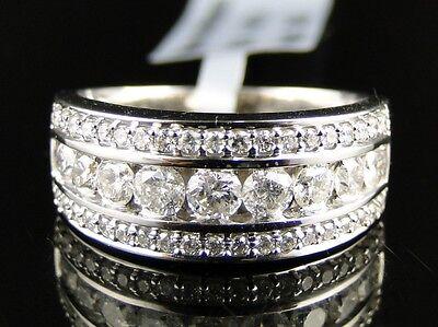 14K Mens Ladies White Gold Round Diamond Channel 8Mm Wedding Band Ring 1.04 Ct
