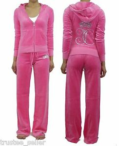 NWT-JUICY-COUTURE-Bling-Ornate-Monogram-Pink-Fizz-Velour-Hoodie-Pants-Tracksuit