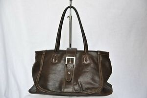 TOD'S TODS Dark Brown Leather BUCKLE TOTE Shoulder Bag Handbag ...