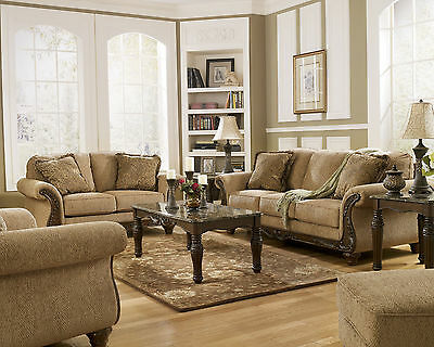 JULIAN - TRADITIONAL BROWN FABRIC WOOD TRIM SOFA COUCH SET LIVING ROOM FURNITURE