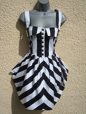 UK 8 50s Style Stripe Nautical Steampunk Goth Quirky Summer Dress  EU 36 US 4 6