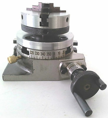 """Rotary Table 3"""" 75mm w/65mm Lathe Chuck Horizontal & Vertical for Milling Machin"""
