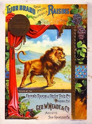 Fresno San Francisco Lion Raisin Grape Wine Fruit Crate Label Art Print