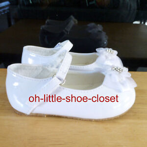 Baby Infant Toddler White Dress Patent Leather Girl Shoes