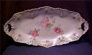 Antique-RS-Prussia-Porcelain-Rose-Flower-Oblong-Celery-Bowl-Open-Handles-Great