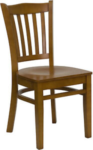 Cherry Wood Frame Vertical Slat Back Restaurant Chair w/ Matching Wood Seat