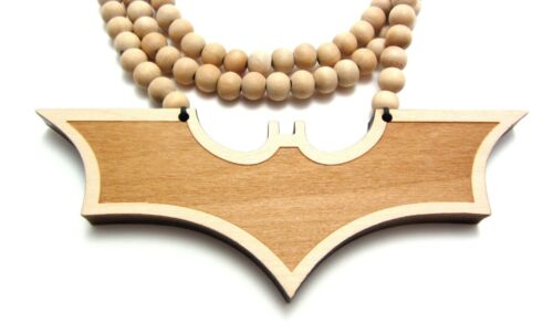 "Wooden Batman Symbol Pendant Piece 36/"" Chain Bead Necklace All Good Wood Style"