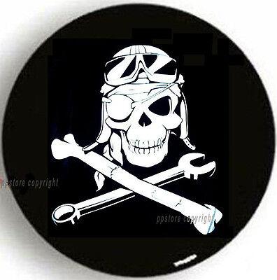 SPARE TIRE COVER 225/75R15 Pirate Mechanic Skull MB2957G1 wrangler black