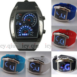 New-Cool-RPM-Turbo-Blue-Flash-LED-Watch-Gift-Sports-Car-Meter-Dial-Men-Color-F0