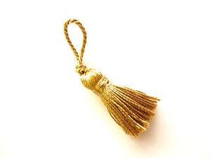 10-small-gold-Christmas-decoration-tassels-Mini-Xmas-craft-embellishments