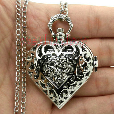 Silver Hollow Quartz Heart-shaped Pocket Watch Necklace Pendant Womens Gift P72