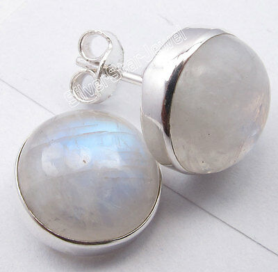 925 Sterling Silver BLUE FIRE RAINBOW MOONSTONE CHARMING Studs Earrings 1.3 CM