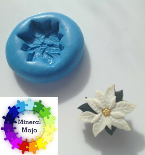 Xmas Poinsettia Flower Silicone Mould Cupcake Toppers, Sugarcraft,Fimo,Jewellery