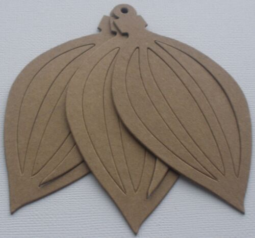 (4)  ViNTAGE ORNAMENT -  Bare Unfinished Christmas Chipboard Die Cuts