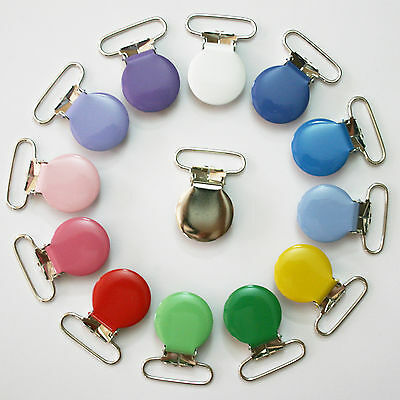 10 Round 1 Inch Enamel Suspender Passy Binky Pacifier Mitten Clip Free Shipping