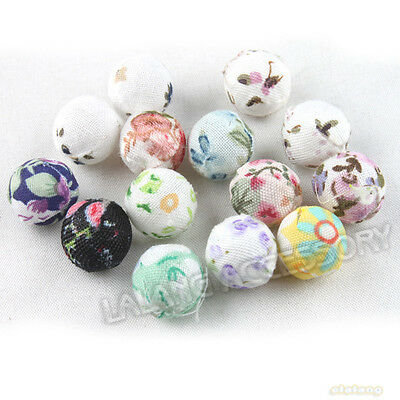 30pcs 110803 New Charms Mixed Colorful Covered Flowers Fabric Plastic Beads