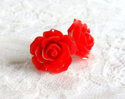 Vintage Rose Flower Earrings, Clip on or Studs, Rockabilly pierced./ non pierced