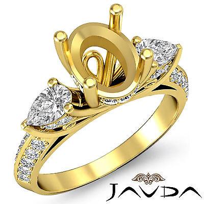 3 Stone Pear Oval Diamond Wedding Antique Ring Semi Mount 18k Yellow Gold 1.21Ct