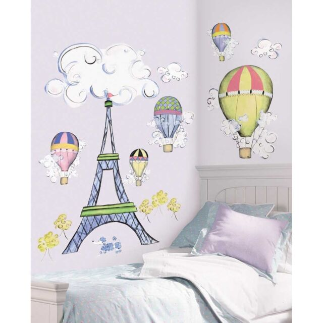 New GIANT EIFFEL TOWER WALL DECAL MURAL Hot Air Balloons Clouds Nursery Stickers