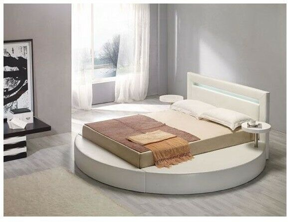 PALAZZO WHITE LEATHERETTE ROUND BED