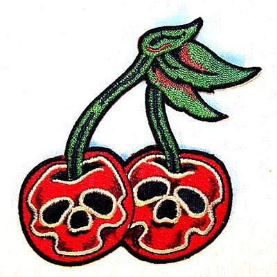 SKULL HEAD CHERRIES EMBROIDERED PATCH P565 iron on sew biker JACKET patches NEW