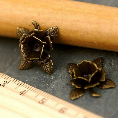 Plated Filigree Wrap Flowers with leaves 24mm bf26 PICK