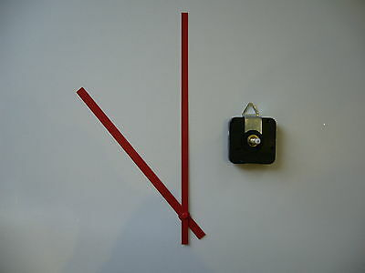 HIGH TORQUE CLOCK MOVEMENT EXTRA LONG SPINDLE 250MM RED BATON METAL HANDS