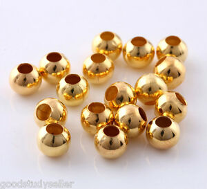 100 Pcs Gold Plated Spacer Bead Jewelry making Findings Loose Beads Charms 6mm
