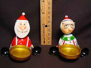 Santa-amp-Mrs-Claus-Handmade-Votive-Candle-Holder-Tea-Light-Set-Mini-Metal-Xmas