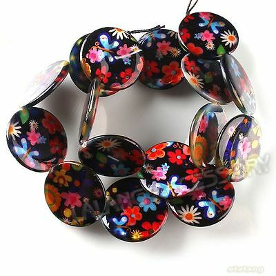 1 String New Multicolored Flower Charms Jewelery Making Shell Beads 20mm 111520