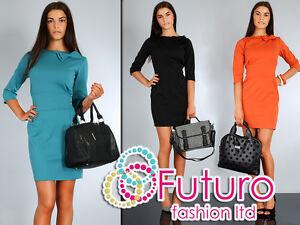 NEW-Women-039-s-Stylish-amp-Elegance-Dress-with-Bow-3-4-Length-Sleeve-Size-8-14-FA31