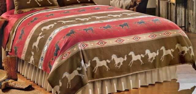 Western Galloping Horses Theme Coverlet Bedding Full/Queen King Size & Shams