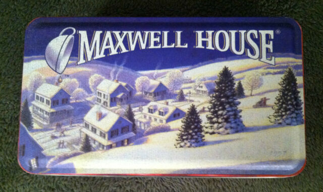 1997 Maxwell House Coffee Tin Winter Town Scene Skaters Sled Snowman Friends
