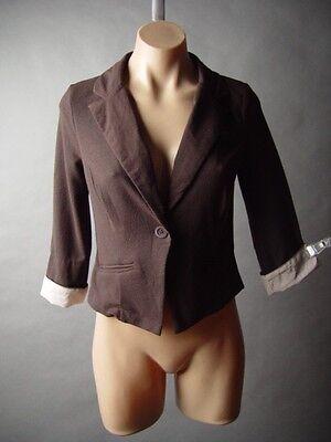 Sale Brown Tailored Shrunken Fit Pin Stripe Cuffed Sleeve Work Jacket Blazer S