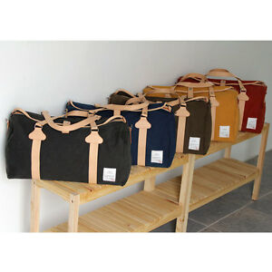 New-Canvas-Pu-Leather-Women-Bag-Vintage-Style-Messenger-Shoulder-Gym-Boston-Bags